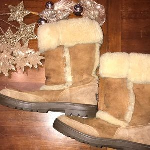 UGG tan leather with sherpa accents